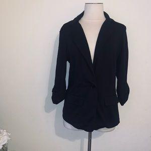Black ruched sleeve blazer jacket l soho